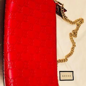 Gucci Guccissima Signature Chain Red Wristlet